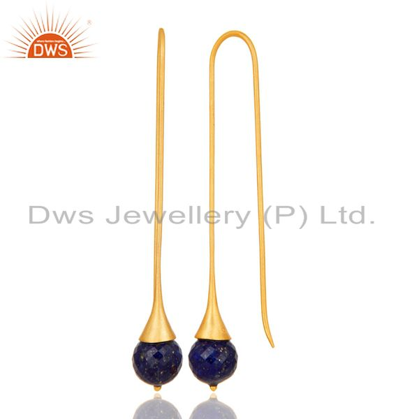 Suppliers 18K Gold Plated Sterling Silver Handmade Faceted Lapis Lazuli Dangle Earrings