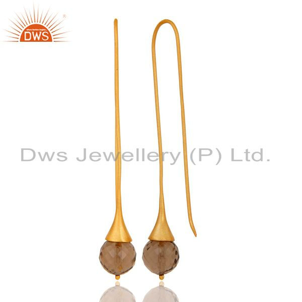 Suppliers 18K Gold Plated Sterling Silver Handmade Faceted Smokey Topaz Dangle Earrings