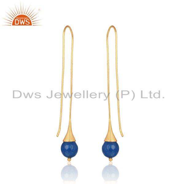 Designer of Blue aventurine ball long drop earring in yellow gold on silver