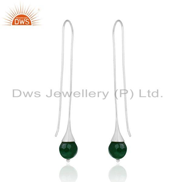 Designer of Green aventurine ball designer long drop earring in solid silver