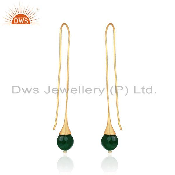 Designer of Green aventurine ball long drop earring in yellow gold on silver