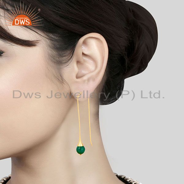 Suppliers 18K Yellow Gold Plated 925 Sterling Silver Faceted Green Onyx Dangle Earrings