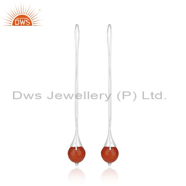 Suppliers Natural Red Onyx Gemstone Designer Sterling Fine Silver Earrings