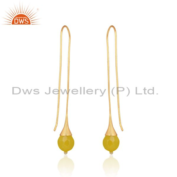 Designer of Long organic yellow chalcedony ball earring in gold on silver