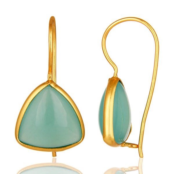 Suppliers Handmade Aqua Blue Glass Chalcedony Hoop Earrings Made In 18K Gold Over Silver
