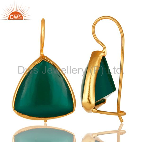Suppliers 18K Yellow Gold Over Sterling Silver Bezel Set Green Onyx  Hook Drop Earrings