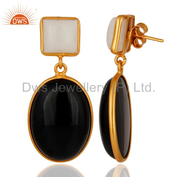 Suppliers Handmade Black Onyx & Agate Gemstone 18k Gold Plated 925 Sterling Silver Earring