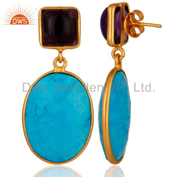 Suppliers 18K Gold Plated 925 Sterling Silver Turquoise & Amethyst Gemstone Drop Earrings