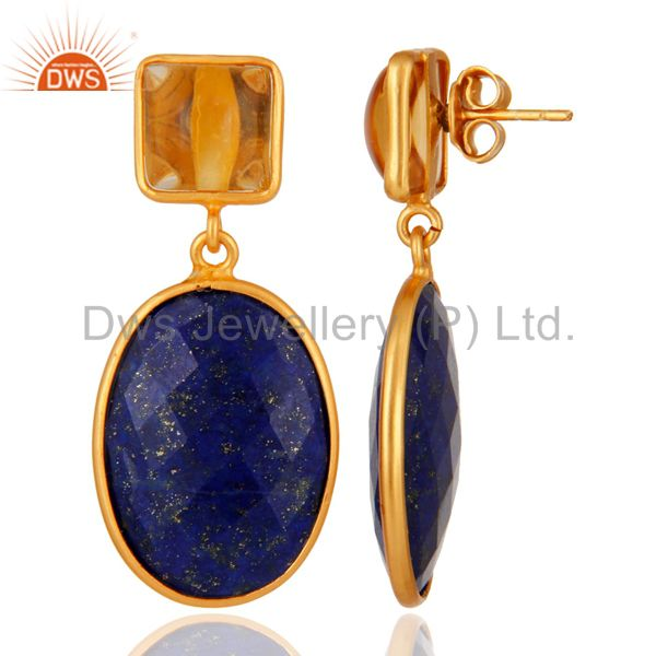 Suppliers 925 Sterling Silver Lapis Lazuli & Citrine Gemstone Drop Earring With Gold Plate