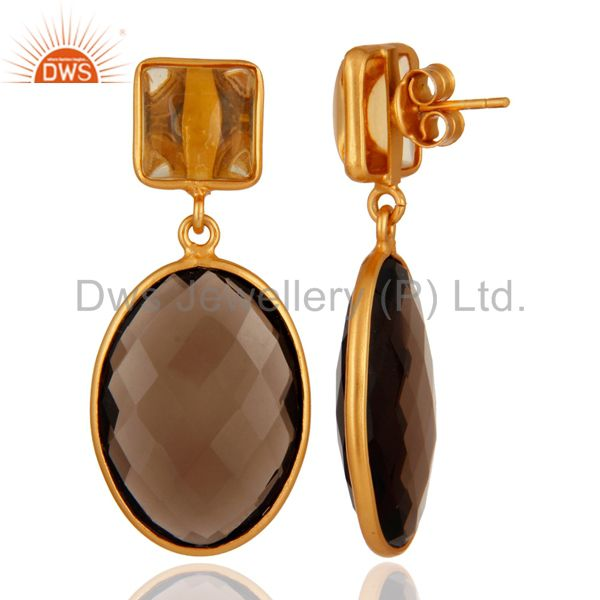 Suppliers 18K Gold Plated Citrine & Smoky Quartz Slice 925 Sterling Silver Drop Earrings