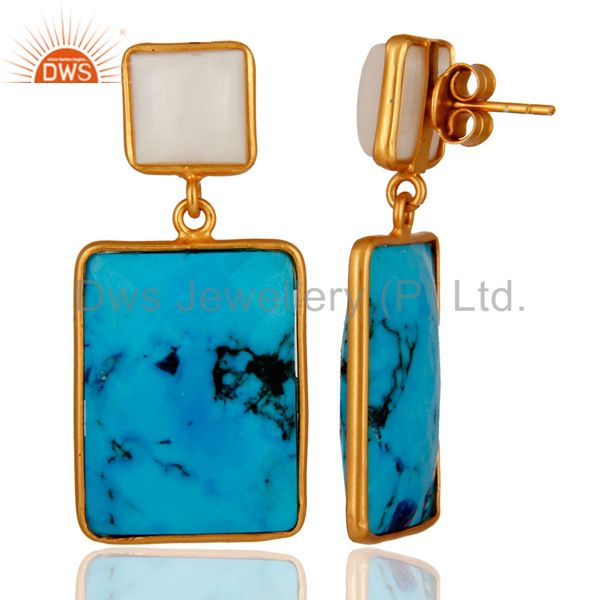 Suppliers Natural Agate & Turquoise Slice 925 Sterling Silver 24k Gold Verneil Earrings