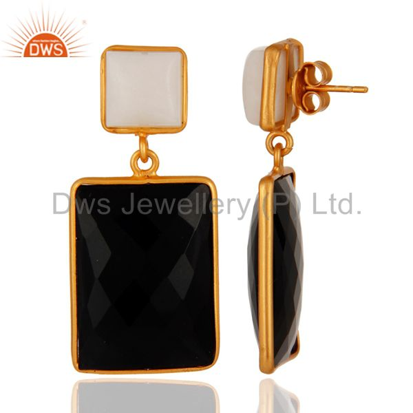 Suppliers 18K Yellow Gold Plated Sterling Silver Black Onyx And White Agate Dangle Earring