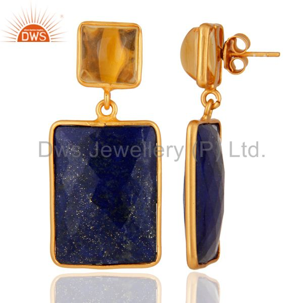 Suppliers Citrine & Lapis Lazuli Gemstone 925 Sterling Silver 18K Gold Plated Earrings