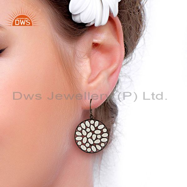 Suppliers Black Rhodium Plated Silver CZ Earrings Jewelry Manufacturer Supplier