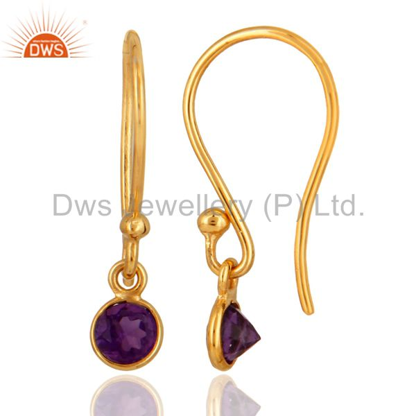 Suppliers Natural Purple Amethyst Round Cut 18K Solid Yellow Gold Dangle Earrings