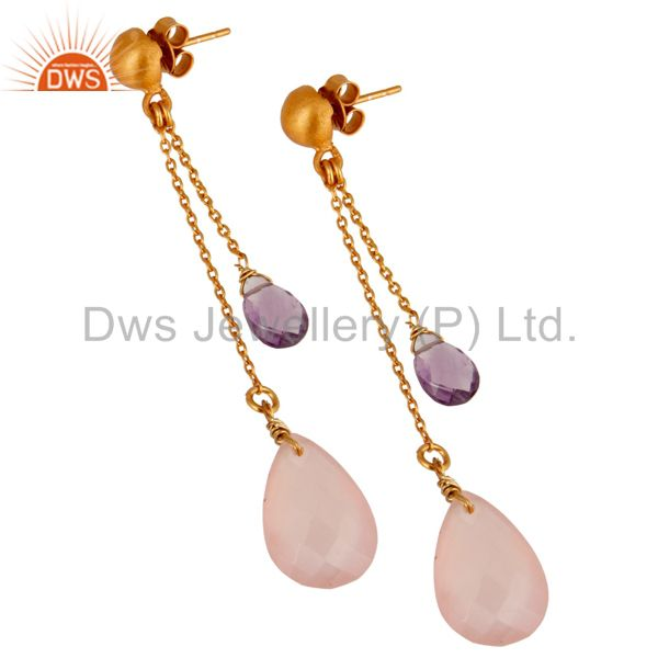 Suppliers 18K Gold Plated Sterling Silver Amethyst & Rose Chalcedony Chain Dangle Earrings