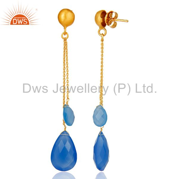Suppliers 18K Yellow Gold Plated Sterling Silver Aqua Blue Chalcedony Briolette Earrings