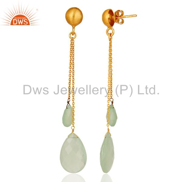 Suppliers 18K Yellow Gold Plated Sterling Silver Green Chalcedony Briolette Chain Earrings