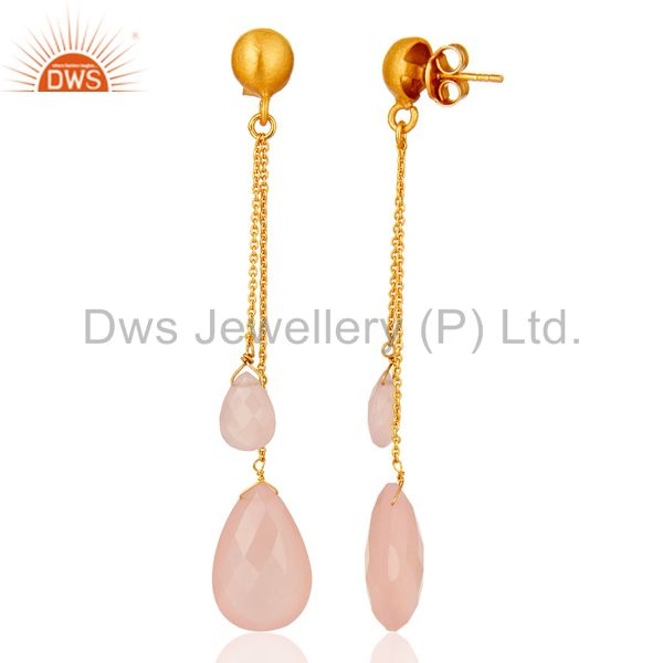 Suppliers 18K Gold Plated Sterling Silver Rose Chalcedony Briolette Chain Dangle Earrings