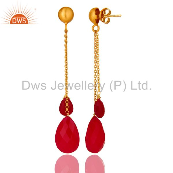 Suppliers Pink Chalcedony Briolette Gold Plated Sterling Silver Link Chain Dangle Earrings
