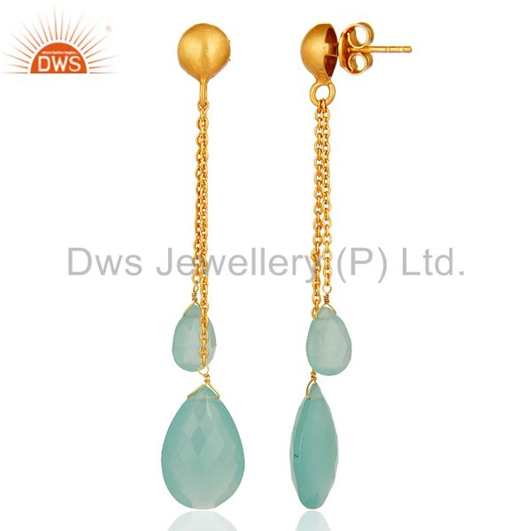 Suppliers Aqua Blue Chalcedony Teardrop Chain Earrings Made In 18K Gold On Sterling Silver