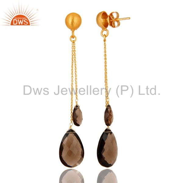 Suppliers 14K Yellow Gold Plated Sterling Silver Smoky Quartz Teardrop Chain Earrings