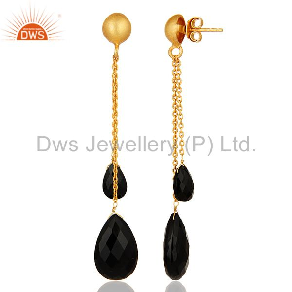 Suppliers 18K Yellow Gold Plated Sterling Silver Black Onyx Briolette Chain Dangle Earring