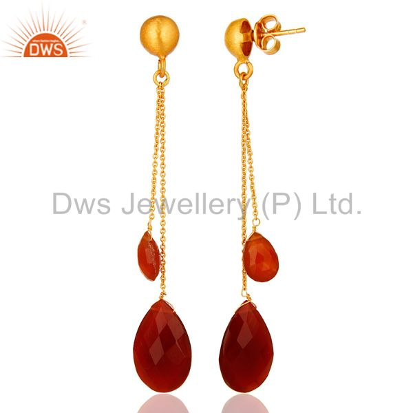 Suppliers 18K Yellow Gold Plated Sterling Silver Red Onyx Briolette Chain Dangle Earrings