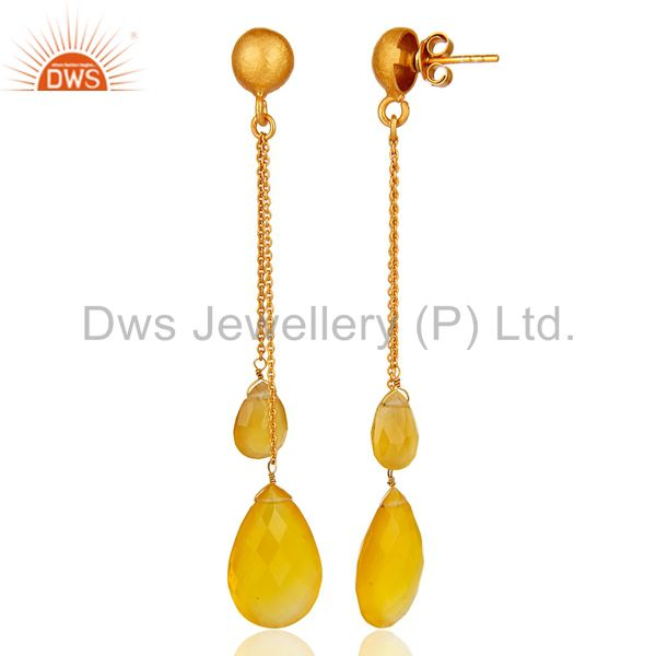 Suppliers Faceted Yellow Chalcedony Drop Chain Earrings In 18K Gold Over Sterling Silver