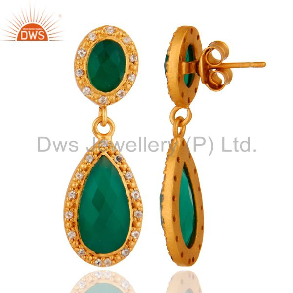 Suppliers 24K Gold Plated Sterling Silver Green Onyx & White Topaz Drop Dangle Earring