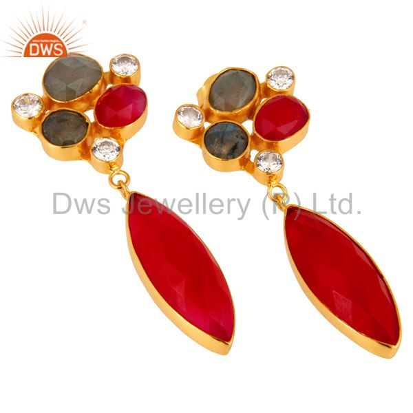 Suppliers 18K Yellow Gold Plated Labradorite Gemstone Designer Earrings For Women