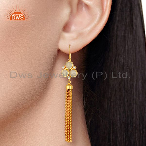 Suppliers CZ White Chalcedony Gemstone Brass Fashion Earrings Jewelry Supplier