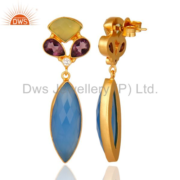 Suppliers 18K Yellow Gold Plated Brass Chalcedony And Hydro Amethyst Earrings