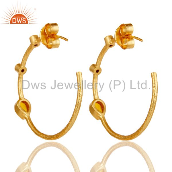 Suppliers Chalcedony & White Zirconia Dangle Brass Earrings With 18K Yellow Gold Plated