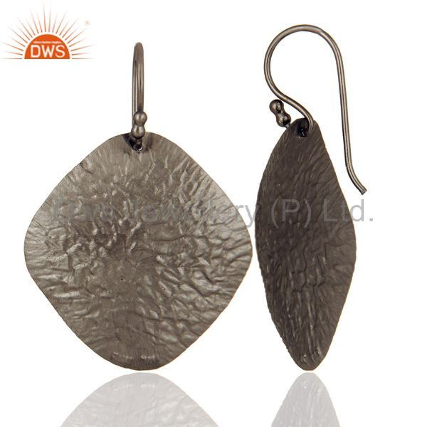 Suppliers Handmade Black Rhodium Plated Sterling Silver Disc Designer Dangle Hook Earrings