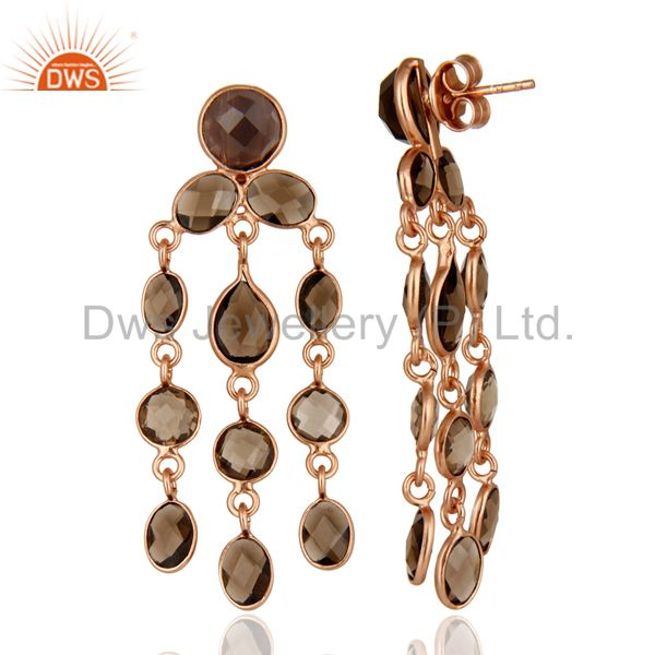 Suppliers Rose Gold Plated Sterling Silver Smoky Quartz Gemstone Chandelier Earrings