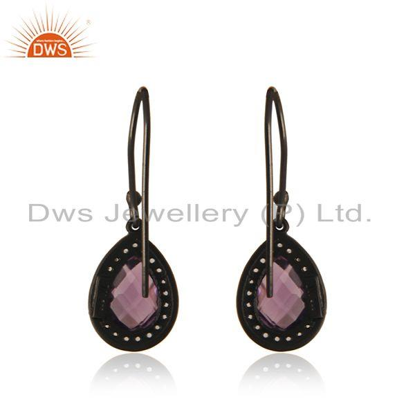 Suppliers White Topaz and Amethyst Gemstone Black Rhodium Plated 925 Silver Drop Earring