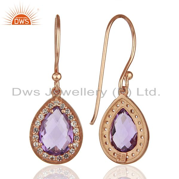Suppliers White Topaz and Amethyst Gemstone 925 Silver Drop Earrings Suppliers