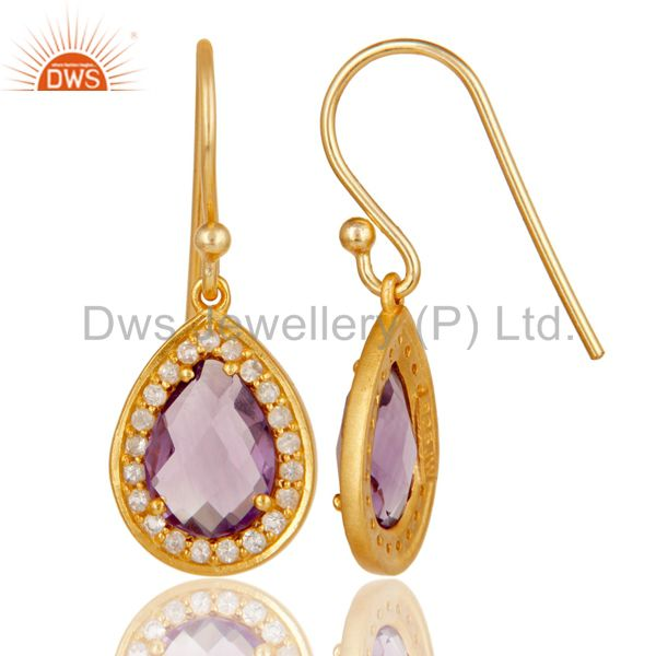 Suppliers 18k Yellow Gold Plated Sterling Silver Amethyst & White Topaz Drop Earrings