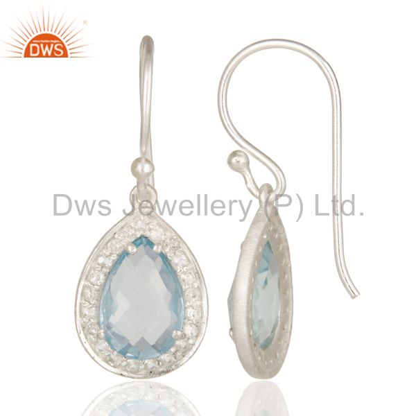 Suppliers 925 Sterling Silver Blue Topaz And White Topaz Gemstone Drop Earrings