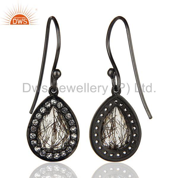 Suppliers Black Rutile and White Topaz Gemstone Black 925 Silver Earrings