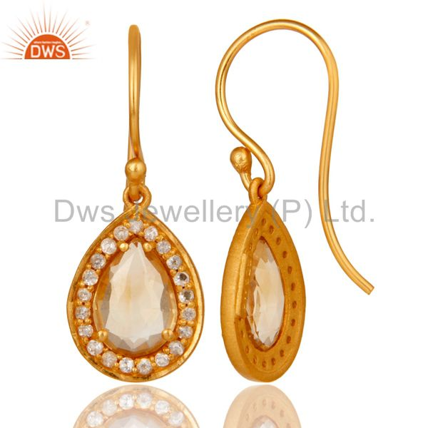 Suppliers Citrine And White Topaz Teardrop Earrings Made In 18K Gold Over 925 Silver
