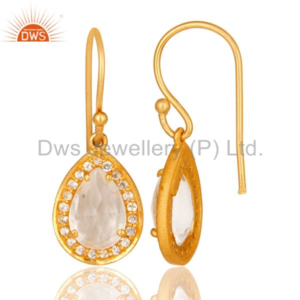Suppliers 18K Gold Plated 925 Sterling Silver Crystal Quartz & White Topaz Drops Earrings