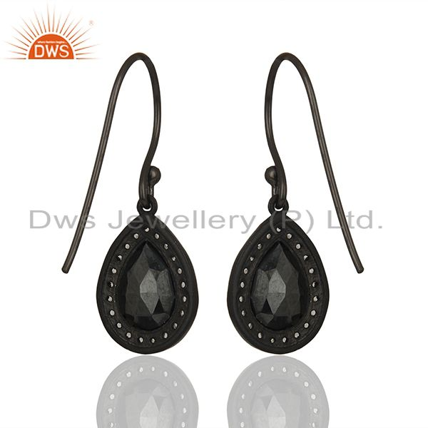 Suppliers Black Rhodium Plated 925 Silver Gemstone Drop Earrings Wholesale