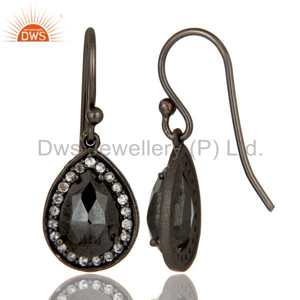 Designers Oxidized Sterling Silver Hematite And White Topaz Dangle Earrings