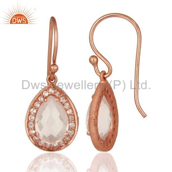 Suppliers 18K Gold Plated Sterling Silver Rose Quartz And White Topaz Drop Earrings