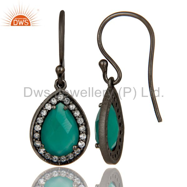 Suppliers Oxidized Sterling Silver Green Onyx And White Topaz Halo Dangle Earrings