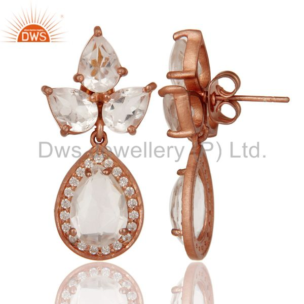 Suppliers Rose Gold Plated Sterling Silver Crystal and Zircon Designer Dangle Earrings