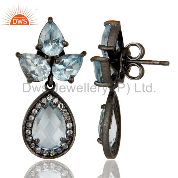 Suppliers Oxidized Sterling Silver Blue Topaz And White Topaz Designer Dangle Earrings