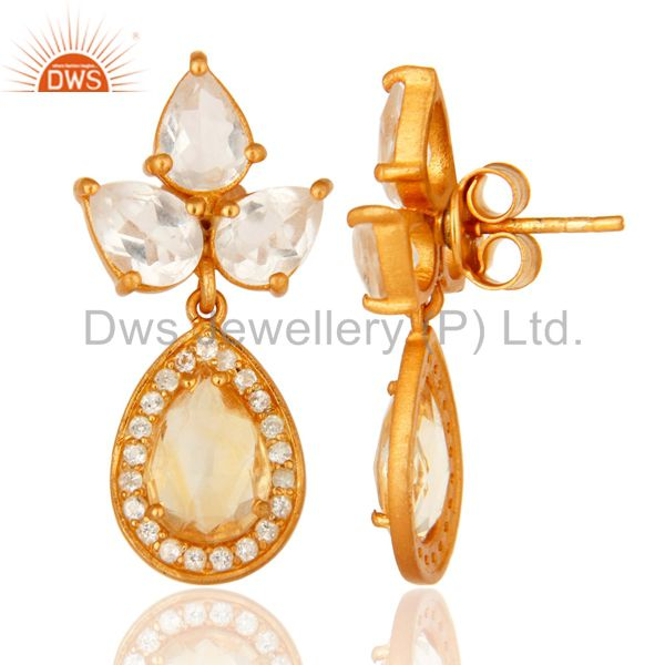 Suppliers 18K Gold Plated Sterling Silver Citrine, Crystal And White Topaz Drop Earrings